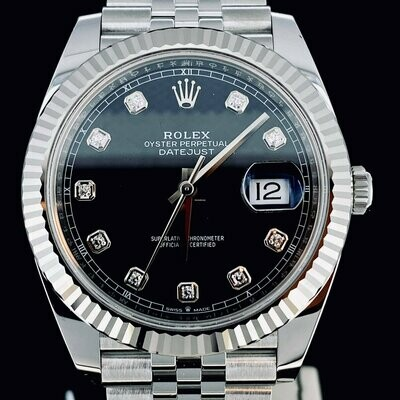 Rolex Datejust II 41MM Steel/White Gold Bezel Black Diamond Dial Jubilee Bracelet 2020
