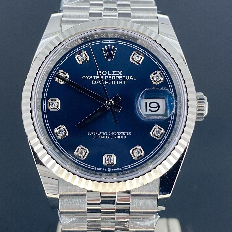 Rolex Datejust 36MM Blue Diamond Dial WG Bezel/Steel Jubilee Fluted B&P2020 Unworn New Styl Card