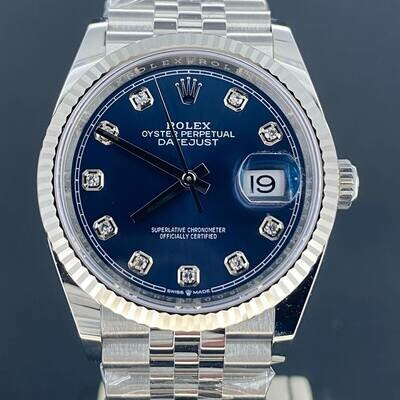 Rolex Datejust 36MM Blue Diamond Dial WG Bezel/Steel Jubilee Fluted B&P2020 Unworn New Styl Card