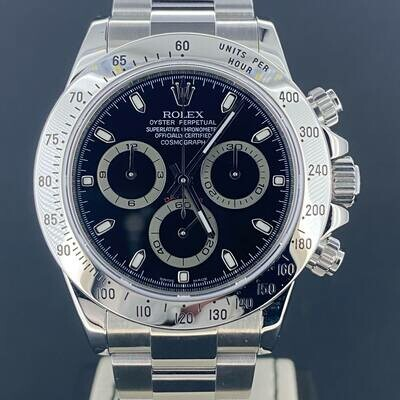 Rolex Daytona Chronograph 40MM Black Dial Steel M Series B&P2009 Mint/LC 170 EU | Long Buckle