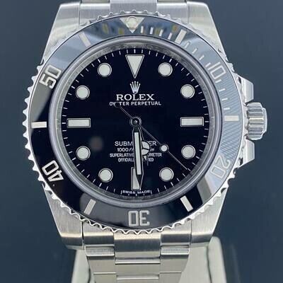 Rolex Submariner No Date Steel 40MM Discontinued Model Steel Ceramic Watch BP2015 Mint Condition