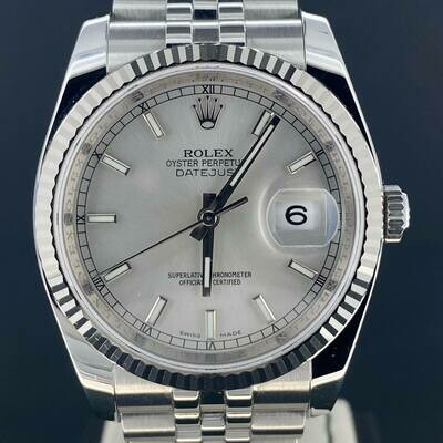 Rolex Datejust 36MM Silver Dial WG Bezel Steel Watch Jubilee Fluted Mint Condition B&P2011