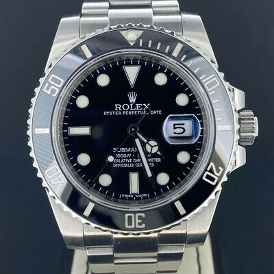 Rolex Submariner Date Discontinued 40MM Steel Black Ceramic B&P Fullset 2012 Mint Condition