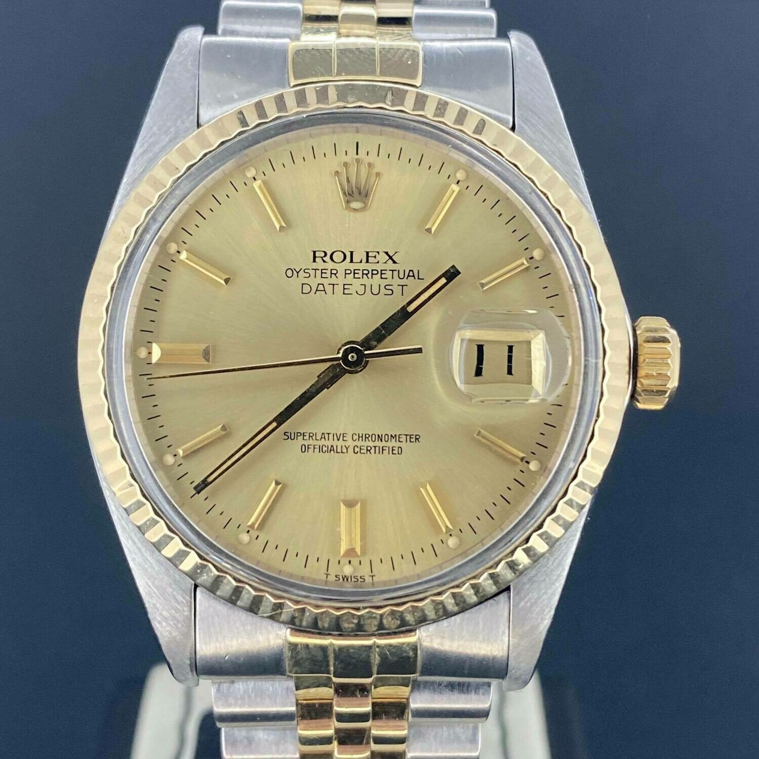Rolex Datejust 36MM Yellow Gold/Steel Jubilee Fluted Bezel Gold/Champagne Dial Only Box LIKE NEW