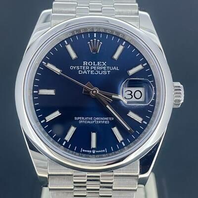 Rolex Datejust 36MM Steel Smooth Jubilee Blue Stick Dial B&P2019 Like new Unworn