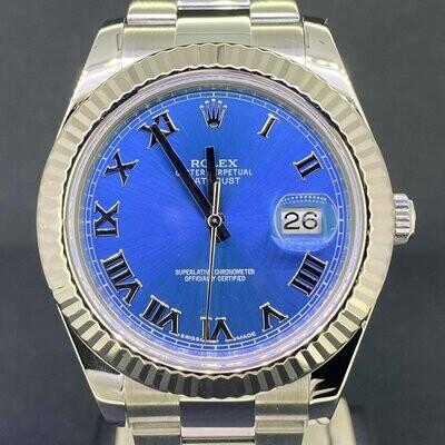 Rolex Datejust II 41MM Steel/White Gold Bezel Blue Azzuro Dial Oyster Bracelet B&P2015 MINT