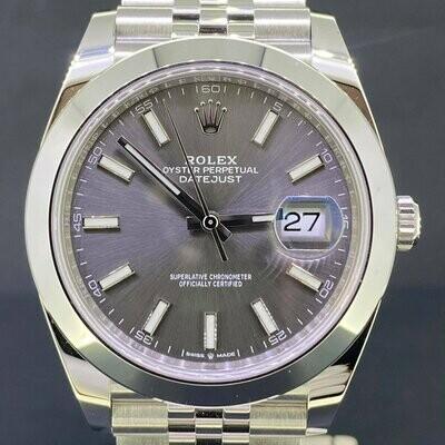 Rolex Datejust 41MM Steel Grey Rhodium Dial Jubilee Bracelet Smooth Bezel B&P2021 Unworn