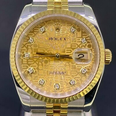 Rolex Datejust 36MM 18K Yellow Gold/Steel 'Gold Jubilee (Computer) Diamond Dial' Fluted B&P2005