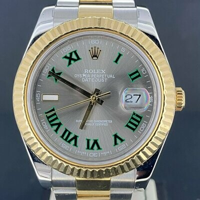 Rolex Datejust II 41MM Yellow Gold/Steel | Aftermarket Wimbledon Dial | Fluted/Oyster B&P2013