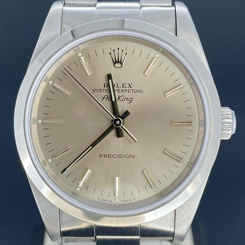 Rolex Air-King Precision 14000 34MM Steel Silver Dial B&P1994 N series