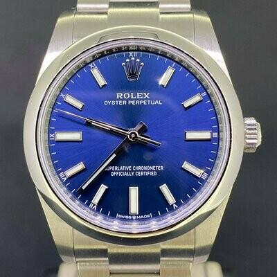 Rolex Oyster Perpetual 34MM Blue Stick Dial Novelty 2021 Steel Watch B&P Unworn
