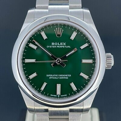 Rolex Oyster Perpetual 31MM Green Dial Steel B&P2021 Novelty