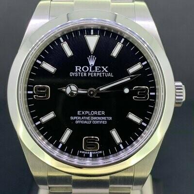 Rolex Explorer I 39MM Steel Black Dial B&P2014 New Card