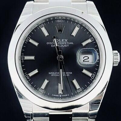 Rolex Datejust II 41MM Steel Grey Rhodium Dial Oyster Bracelet Stickers Unworn 2020 B&P