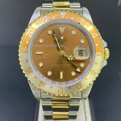 "Rolex GMT-Master II ""RootBeer"" Yellow Gold/Steel 40MM Brown Dial & Bezel S Series."