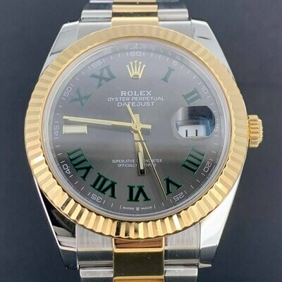 Rolex Datejust II, 41MM Grey Wimbledon Dial Yellow Gold/Steel Oyster Bracelet B&P2019 MINT