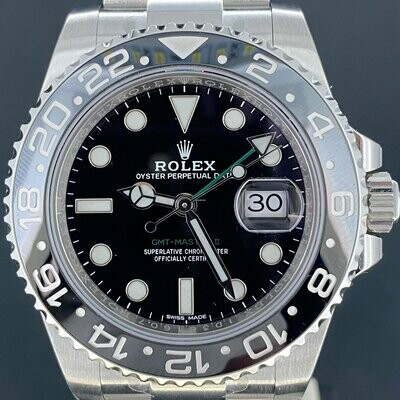 Rolex GMT-Master II Discontinued 40MM Steel Oyster Black Dial FULL STICKERS Unworn/Unpolished