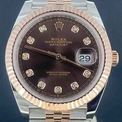 Rolex Datejust 41MM Rose Gold/Steel Chocolate Diamond Dial (Brown) Jubilee B&P2019