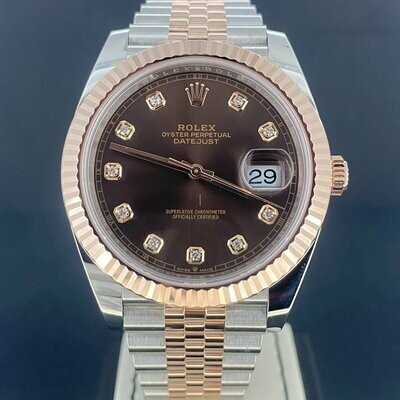 Rolex Datejust 41MM Rose Gold/Steel Chocolate Diamond Dial (Brown) Jubilee B&P2019.
