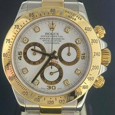 Rolex Daytona Chronograph 40MM White Diamond Dial   Yellow Gold & Steel