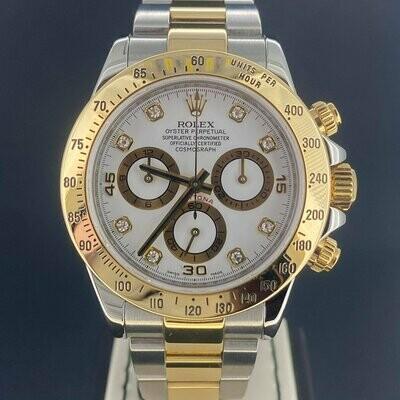 Rolex Daytona Chronograph 40MM White Diamond Dial | Yellow Gold & Steel.