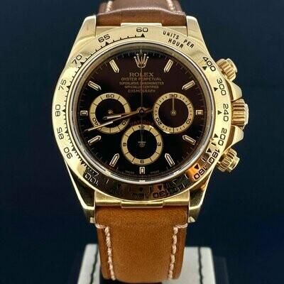 Rolex Daytona Zenith Chronograph Black Dial 40MM 18K Yellow Gold Watch Box Only Mint Condition.