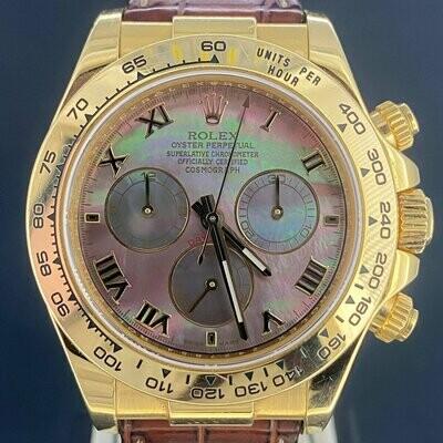 Rolex Daytona Chronograph 40MM 18K Yellow Gold Roman Tahitian MOP Dial B&P2016 Rare UNPOLISHED