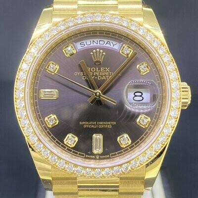 Rolex Day-Date 36MM 18K Yellow Gold Factory Diamond Bezel Grey/Brown Baguette Dial B&P2019
