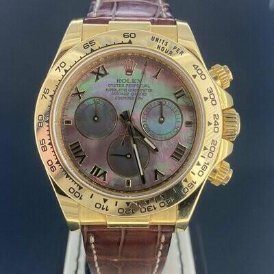 Rolex Daytona Chronograph 40MM 18K Yellow Gold Roman Tahitian MOP Dial B&P2016 Rare UNPOLISHED.