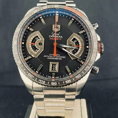 TAG Heuer Grand Carrera Calibre 17 RS Titan Chronograph Steel 43MM B&P