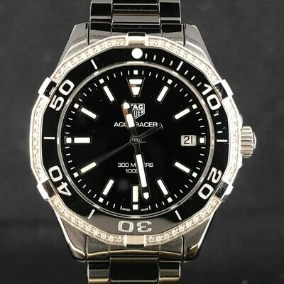 TAG Heuer Aquaracer 300M Lady Black Ceramic, Diamonds, 35MM Quartz NEW