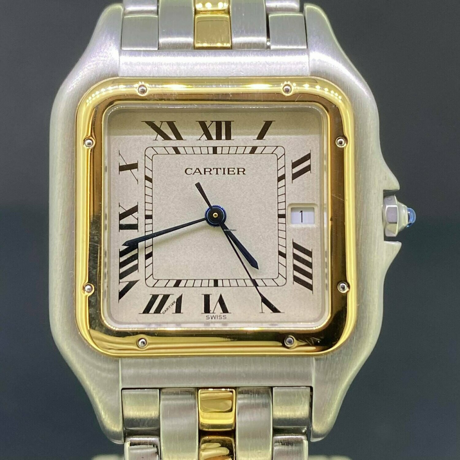 """Cartier Panthere Jumbo 29MM Gold/Steel """"One Row"""" White Dial B&P Fullset 1994 Mint Condition """"Long"""""""
