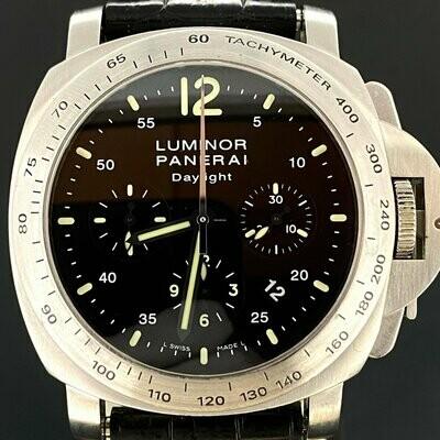 Panerai Luminor Daylight   Black   Chronograph   Steel   44MM   2x Bracelets   B&P2008   FULLSET