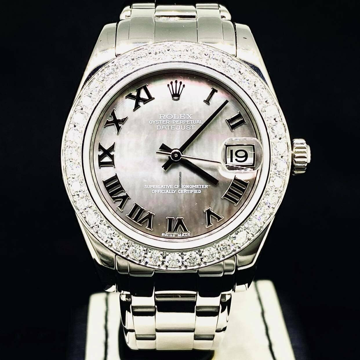 Rolex Lady-Datejust Pearlmaster 34MM White Gold Diamond Bezel MOP.