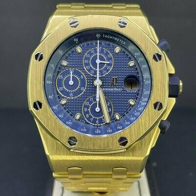Audemars Piguet Royal Oak Offshore Chronograph Yellow Gold 18K The Brick Blue Dial Mint Condition Box Only