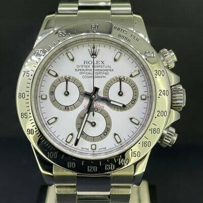 "Rolex Daytona Chronograph 40MM Steel White Dial ""Short Buckle"" 'B&P2008 M Series' Mint Condition"