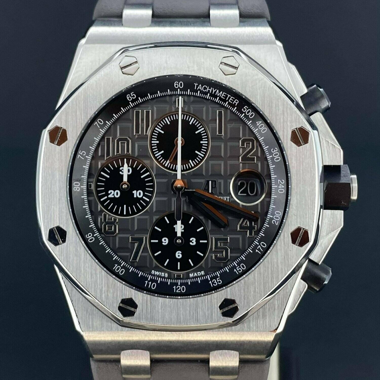 Audemars Piguet Royal Oak Offshore Chronograph Elephant Grey Dial Steel/Ceramic Pushers 42MM B&P2016 MINT