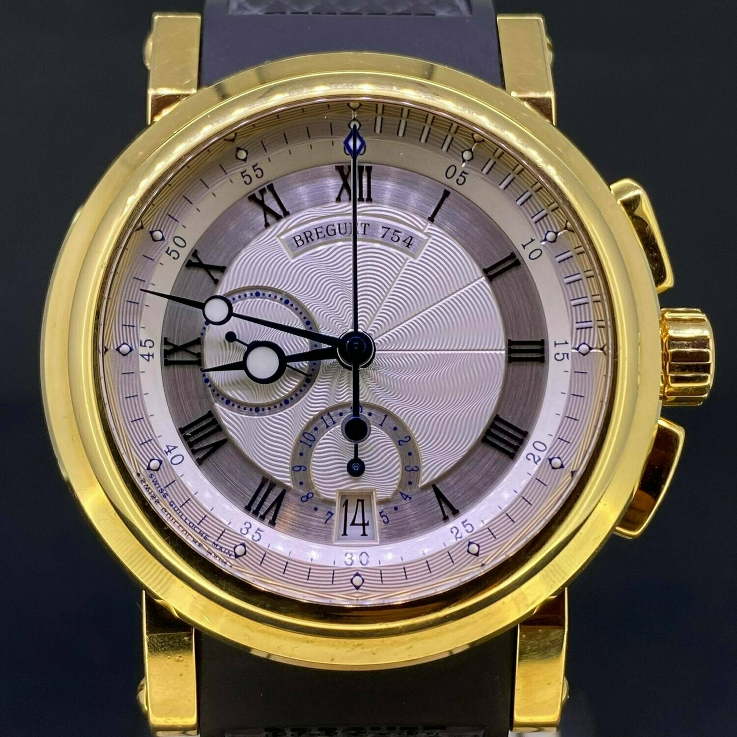 Breguet Marine Chronograph 18K Yellow Gold Silver Dial B&P Unpolished Like New