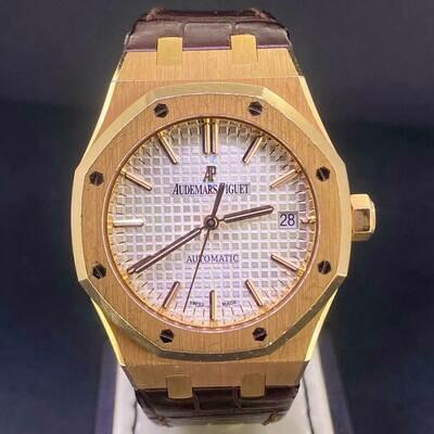 Audemars Piguet Royal Oak 37MM 18K Rose Gold Silver Dial B&P2015 Unpolished Sharp Condition
