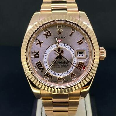 Rolex Sky-Dweller 18K Rose Gold 42MM -Discontinued Pink Dial- B&P2017 Mint Condition.