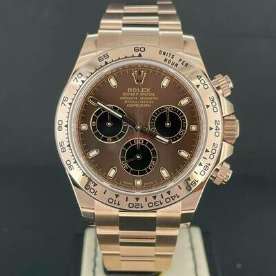Rolex Daytona Chronograph 40MM 18K Rose Gold Chocolate Brown Dial B&P2021/April Unworn.