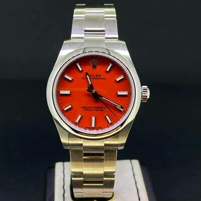 Rolex Oyster Perpetual 31MM Coral Red Dial Steel B&P2021 Novelty.