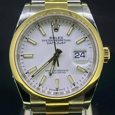 Rolex Datejust 36MM 18K Yellow Gold/Steel White Dial B&P2018 Unworn Stickered