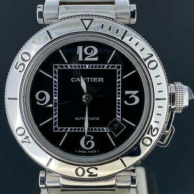 Cartier Pasha Seatimer 40MM Steel Black Dial B&P2012 Mint Condition