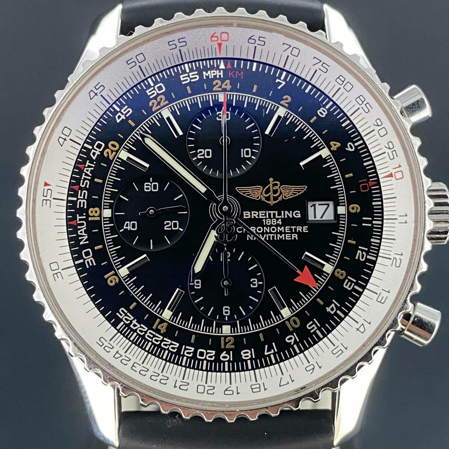 Breitling Navitimer World Chronograph Steel Black Dial Rubber Strap B&P2012 Mint Condition