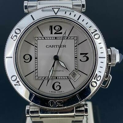 Cartier Pasha Seatimer 40MM Steel White Dial B&P2011 Mint Condition