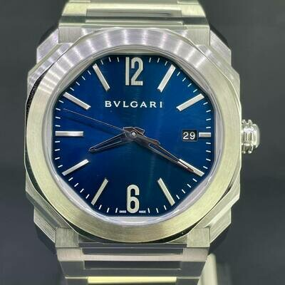 Bulgari Octo Solotempo Steel 38MM Royal Blue Dial B&P2019 Fullset Perfect Condition