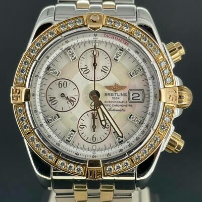 Breitling Chronomat Evolution 44MM Rose Gold/Steel MOP Diamond Dial Fullset B&P2008 Mint Condition