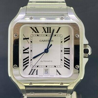 Cartier Santos De Large Automatic White Dial Steel Watch B&P2019 Mint