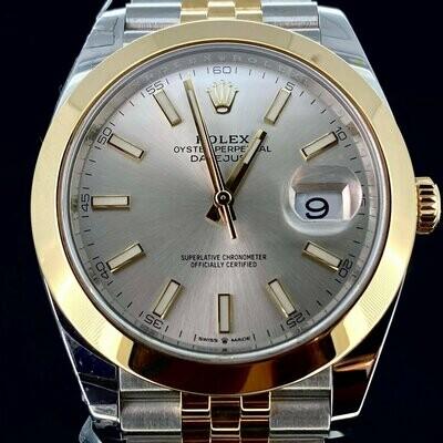 Rolex Datejust 41MM Yellow Gold/Steel Grey Silver Dial Jubilee Bracelet B&P2018